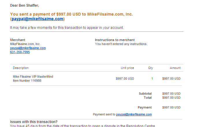 Paypal Purchase